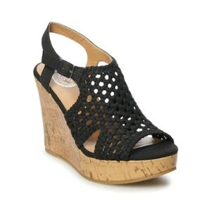 "SO ""Taffy"" Black Wedge Sandals"